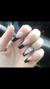 black tips with stones design