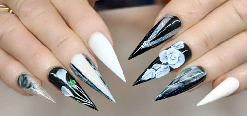 pointed long nail extensions set with 3D nail designs